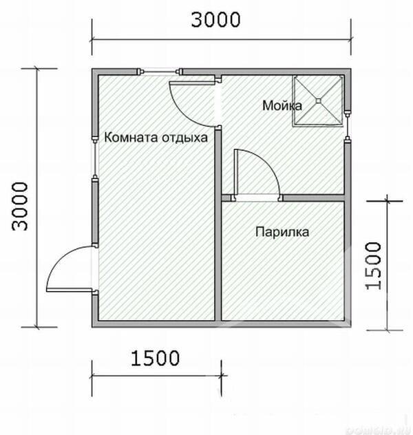 Баня 3 На 3 (3х3) Из Бруса Планировка
