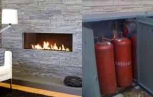 Как встроить газовый камин на баллонном газе без дымохода для дачи - Обзор и монтаж своими руками + Видео