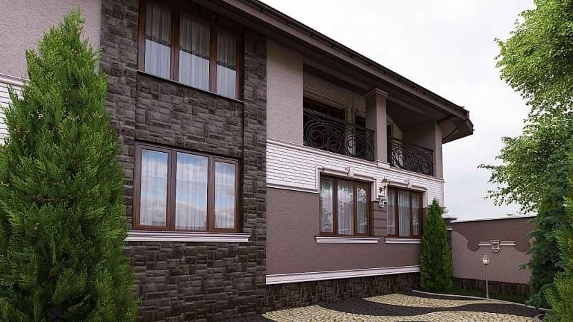 Сочетание различных материалов и способов отделки фасадов