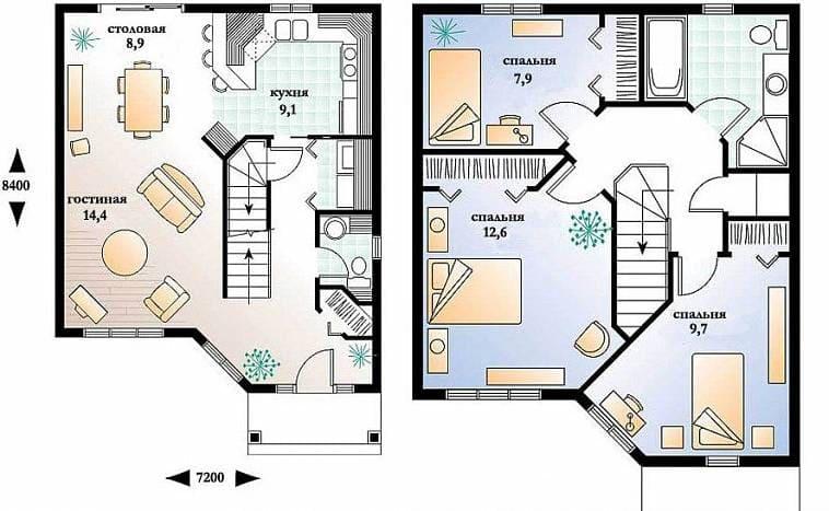 Пример планировки двухэтажного дома