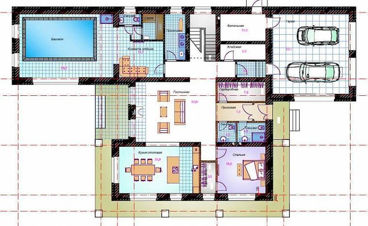 Пример планировки большого дома с встроенным бассейном и с гаражом