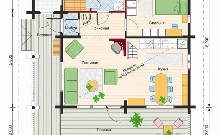 Пример планировки дома с террасой и верандой