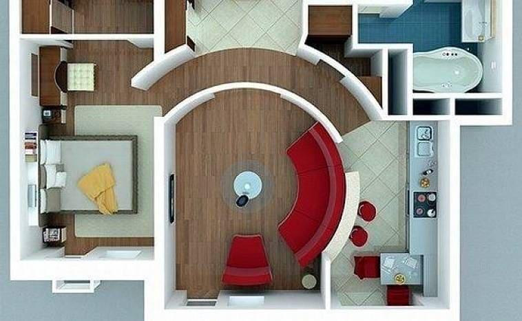 Оригинальная планировка дома с круглой гостиной