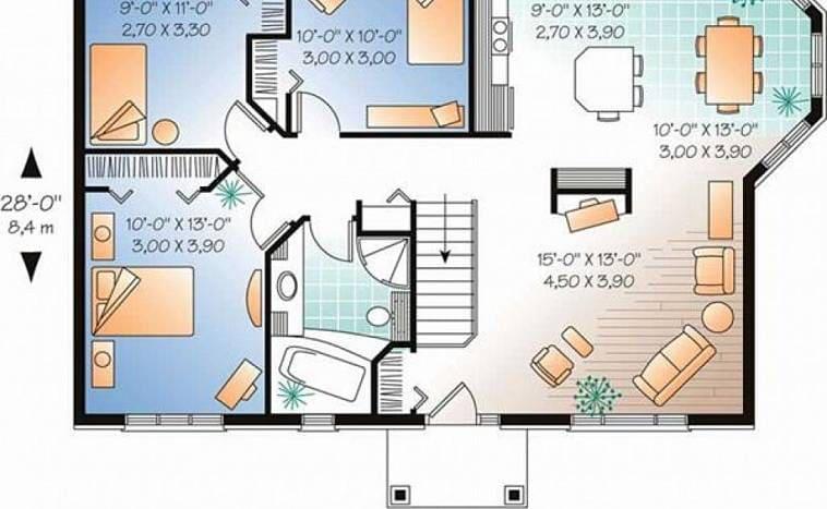 Пример планировки дома с разделением хозяйственной и жилой части