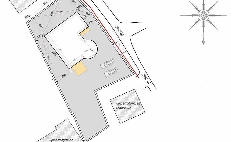 Пример плана привязки отдельных точек дома к отведенному участку