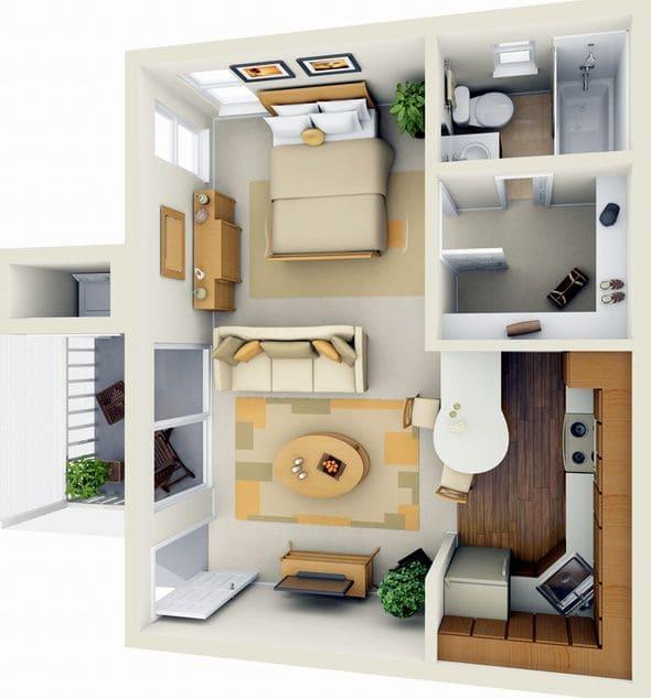 Пример планировки дома с одной спальней