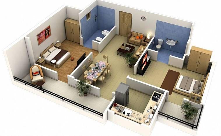 Планировка дома с двумя санузлами