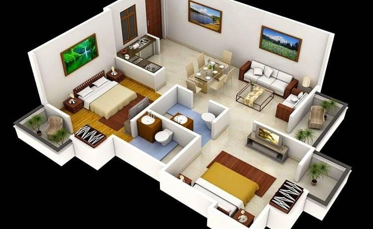 Планировка дома: две спальни, два санузла, кухня, гостиная и столовая совмещены