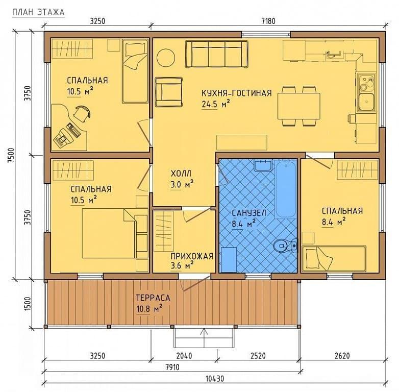 Пример планировки первого этажа с террасой