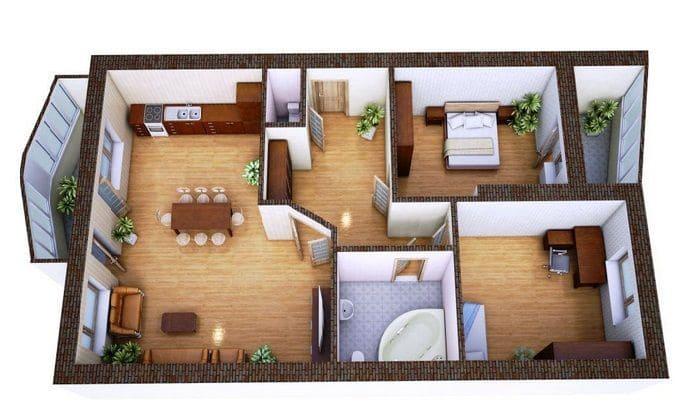 Планировка дома с двумя спальнями