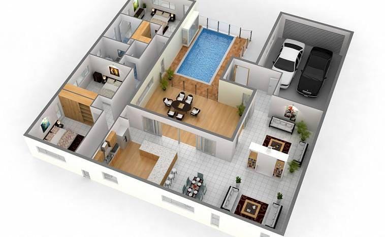 Планировка дома с бассейном и пристроенным гаражом