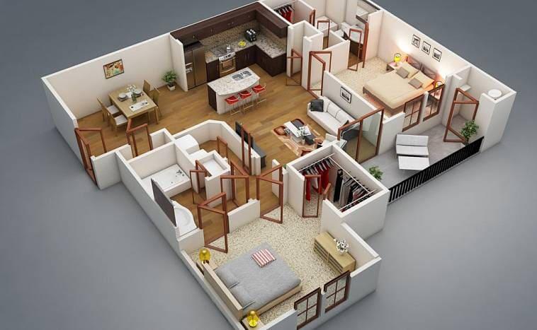 Пример удобной планировки дома: в каждой спальне отдельный санузел