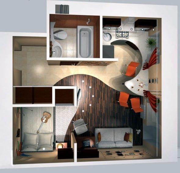 Планировка дома, где гостиная, кухня и столовая совмещены