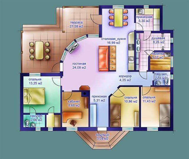 Планировка большого дома с террасой