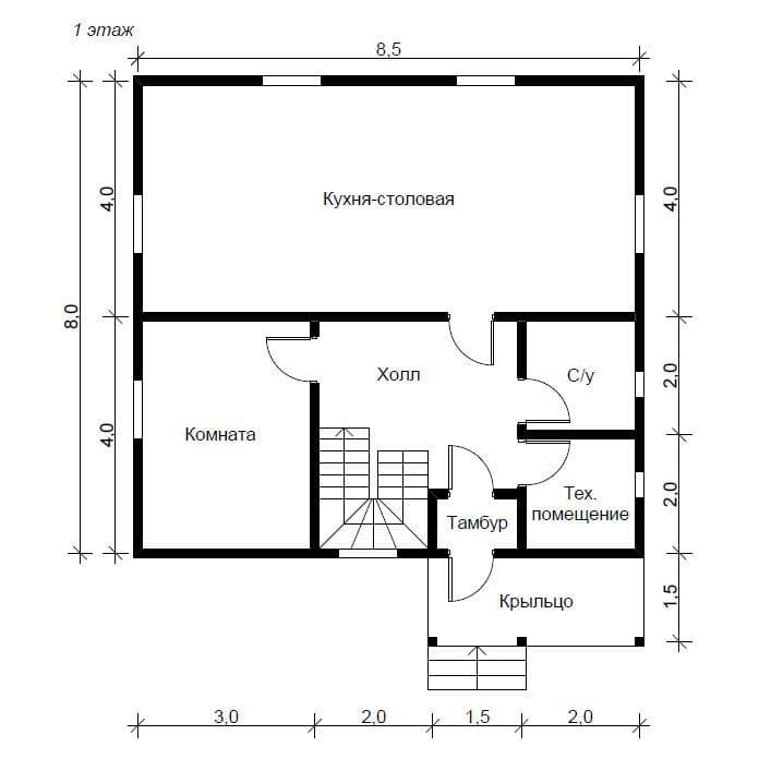 Пример планировки первого этажа двухэтажного дома