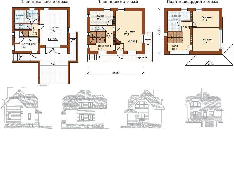 Пример планировки дома с цокольным и мансардным этажами