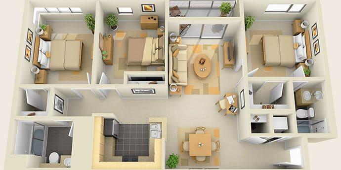 Пример планировки дома, состоящего из четырех жилых комнат