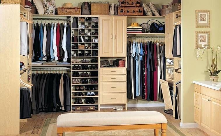 Высота стеллажей в гардеробной
