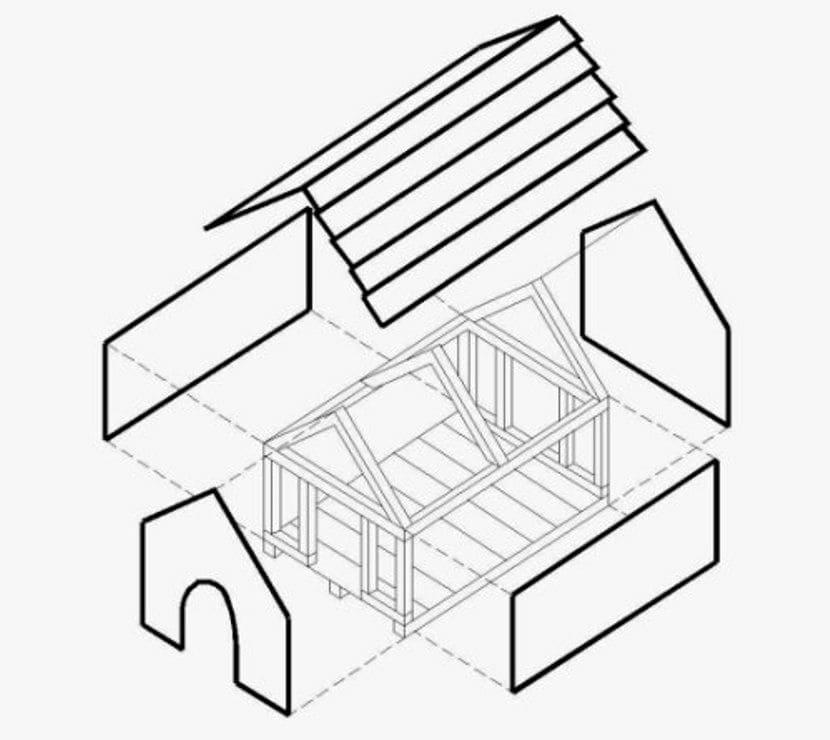 Чертеж будки для собаки с двускатной крышей