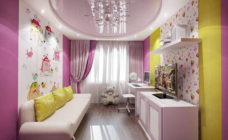 Нежный потолок в комнате для девочки