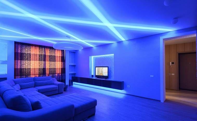 Светодиоды на потолке в интерьере