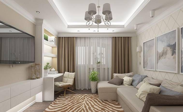 Дизайн стильной гостиной в пастельных тонах
