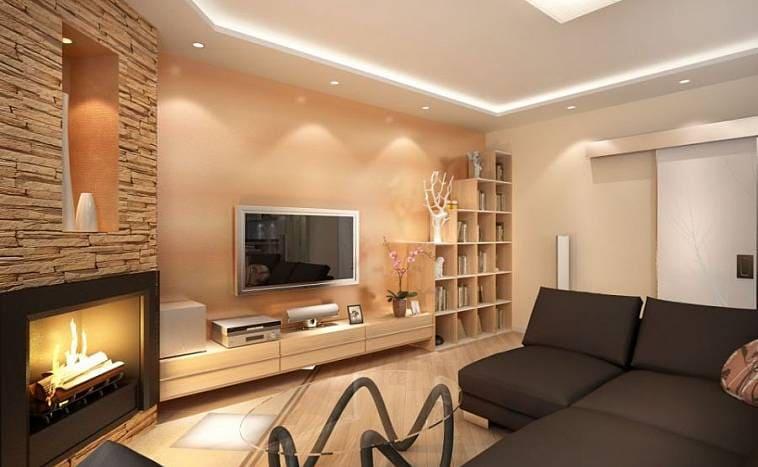 Дизайн гостинной с камином