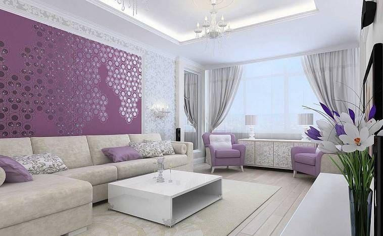 Интерьер гостинной в фиолетовых тонах