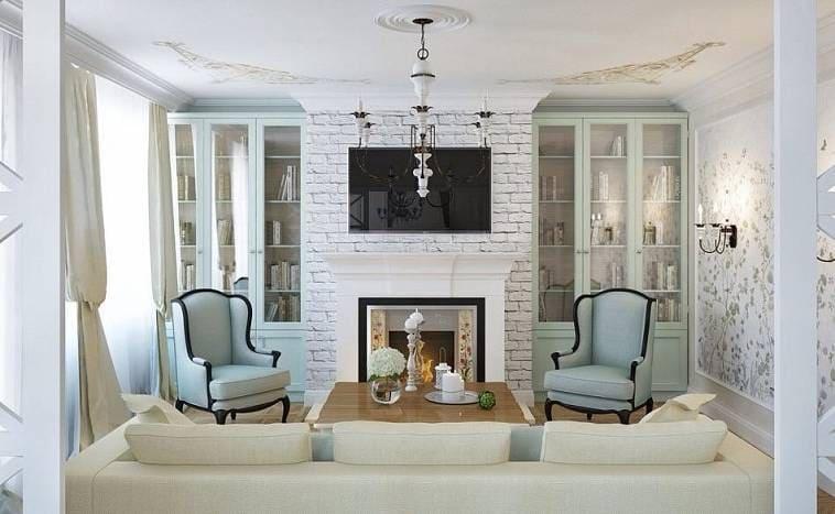 Пастельные тона в интерьере гостиной с камином