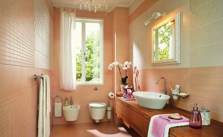 Ванная в персиковом цвете