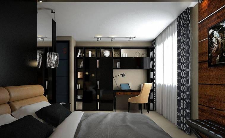 Кабинет в спальне загородного дома
