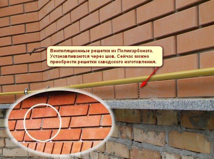 Вентиляционные решетки в стене