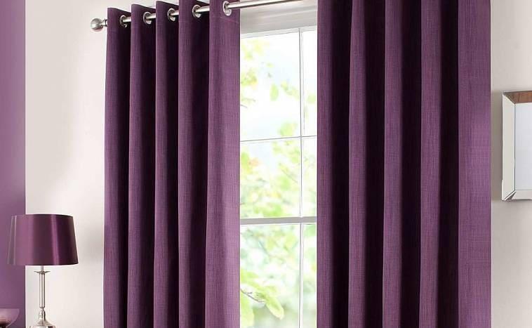 Фиолетовые гардины на люверсах