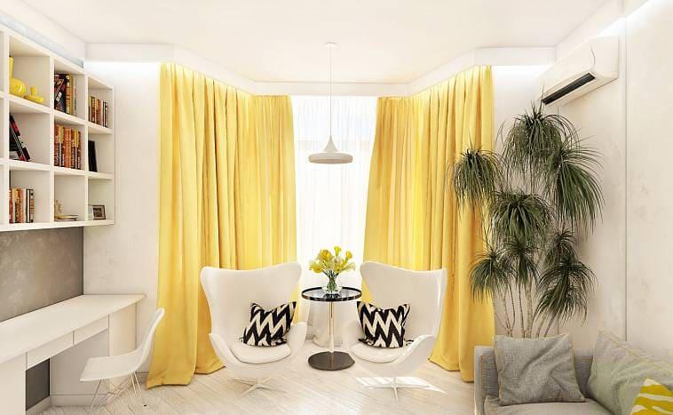 Желтые занавески в зал