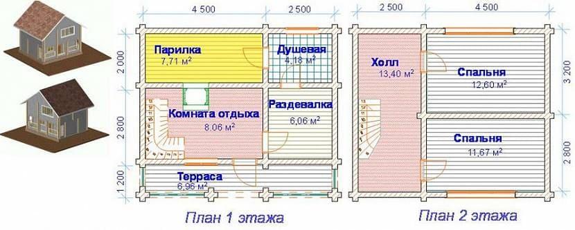 Планировка двухэтажной бани 7 х 6