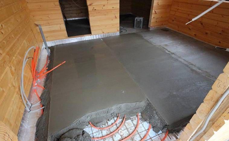 система отопления тёплый пол внутри бетонного напольного основания