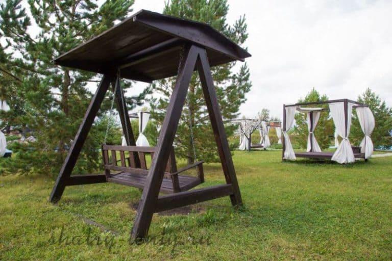 Садовые качели - для дачи, каркасные и бескаркасные, для отдыха 12