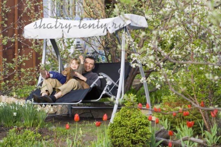 Садовые качели - для дачи, каркасные и бескаркасные, для отдыха 14