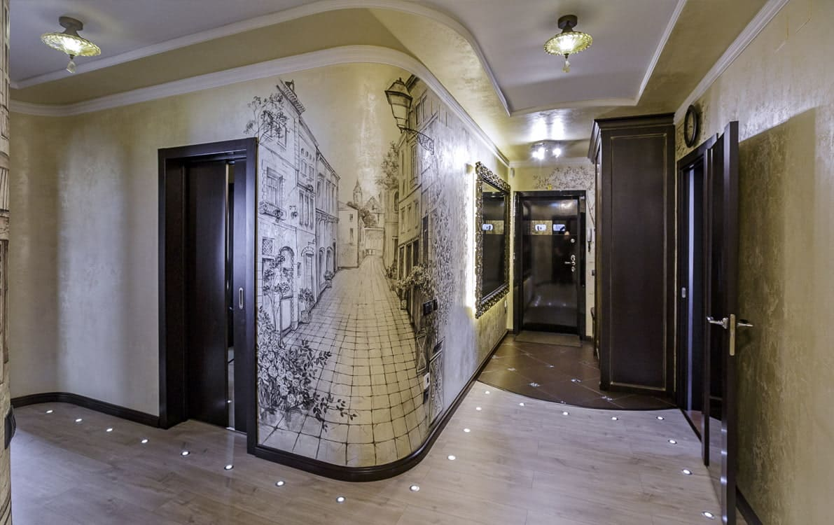 Стены в прихожей - идеи для маленького коридора 45