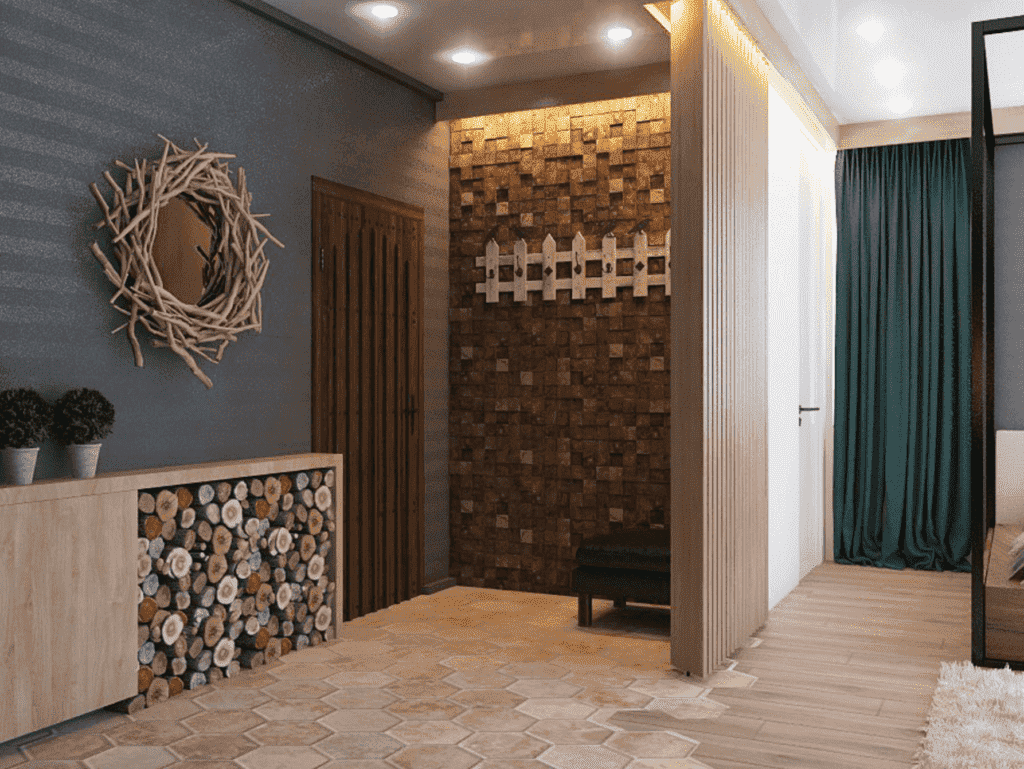 Стены в прихожей - идеи для маленького коридора 62