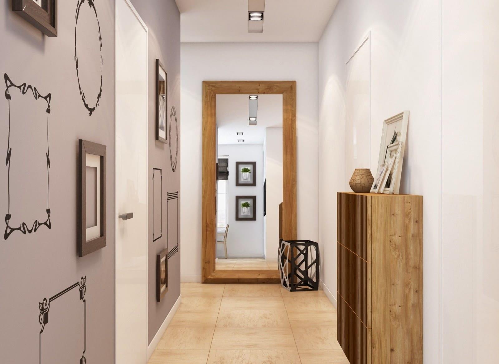 Стены в прихожей - идеи для маленького коридора 71