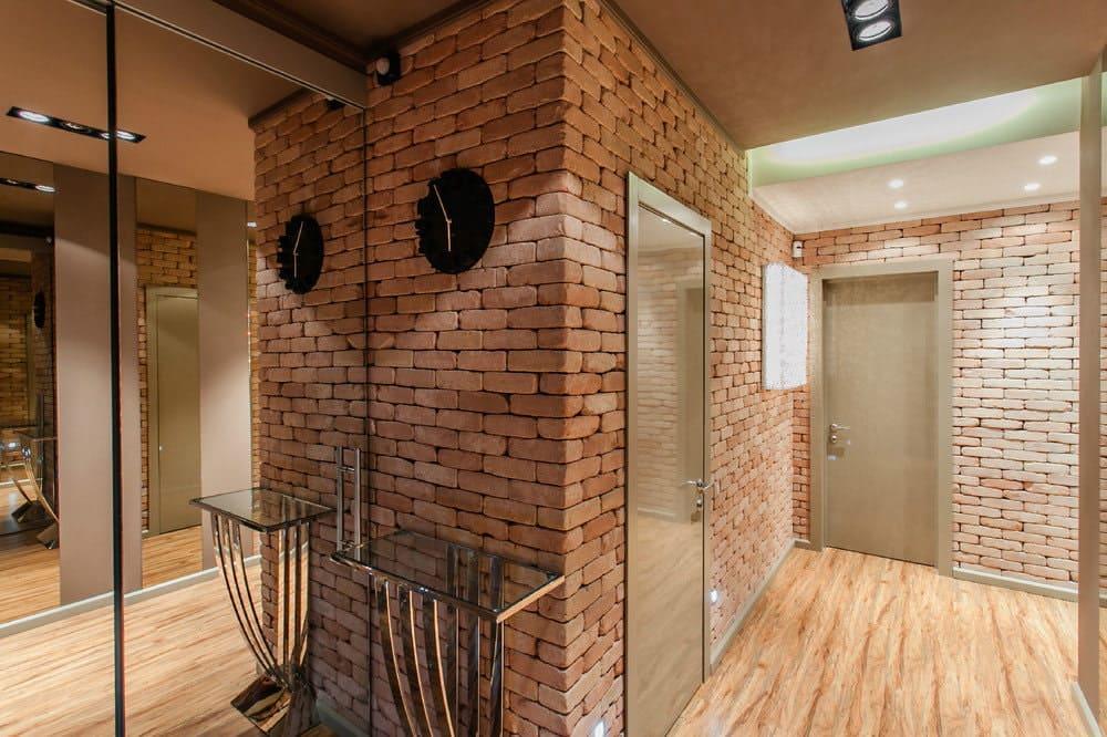 Стены в прихожей - идеи для маленького коридора 76