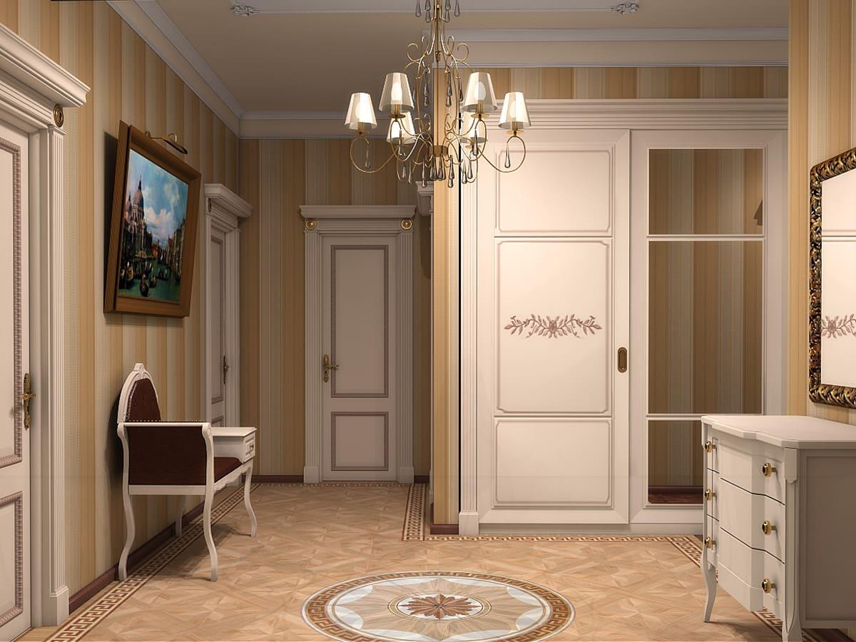 Варианты интерьера в прихожей - камень, ламинат, плитка, фреска 003