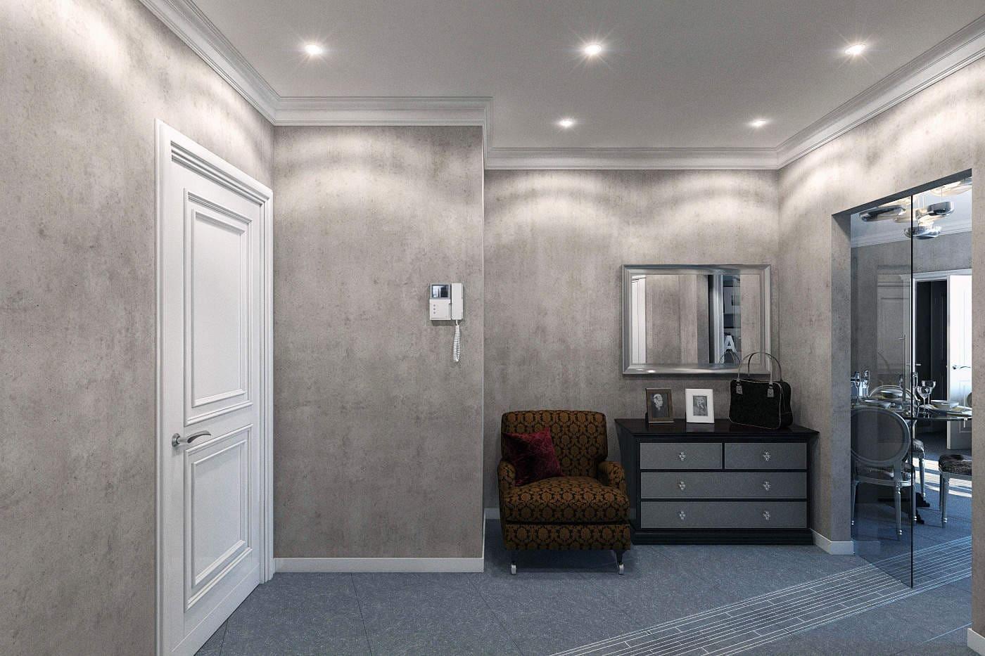 Варианты интерьера в прихожей - камень, ламинат, плитка, фреска 004