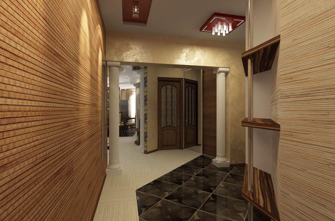 Варианты интерьера в прихожей - камень, ламинат, плитка, фреска 024