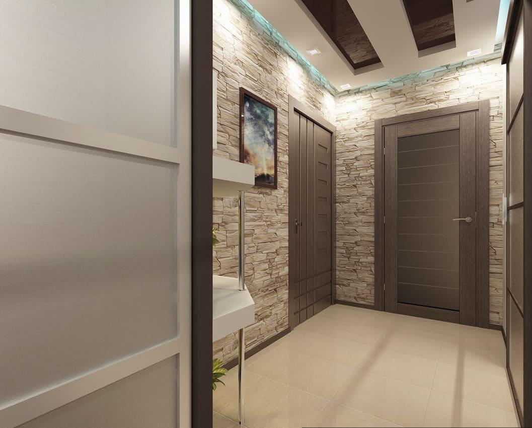 Варианты интерьера в прихожей - камень, ламинат, плитка, фреска 026
