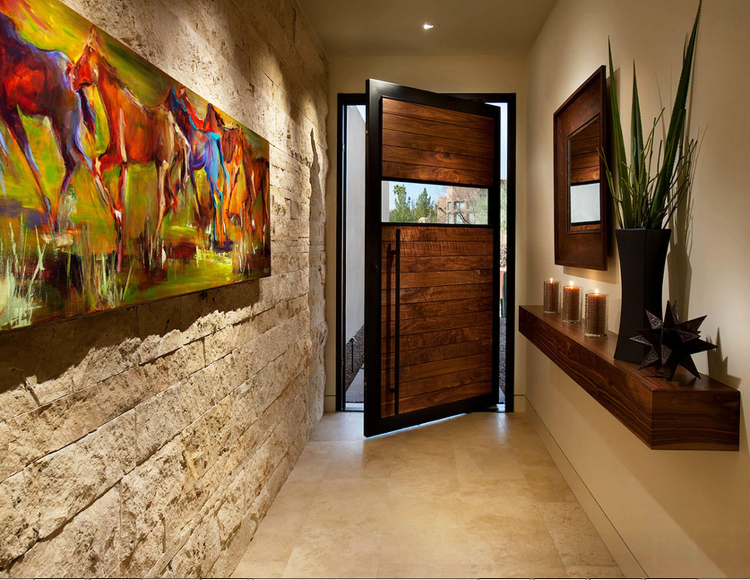 Варианты интерьера в прихожей - камень, ламинат, плитка, фреска 035