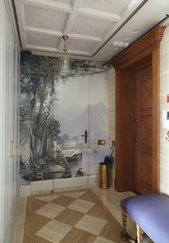 Варианты интерьера в прихожей - камень, ламинат, плитка, фреска 055