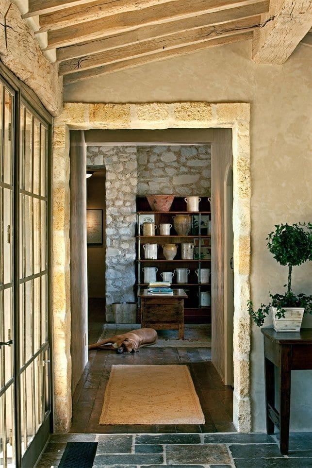 Варианты интерьера в прихожей - камень, ламинат, плитка, фреска 157