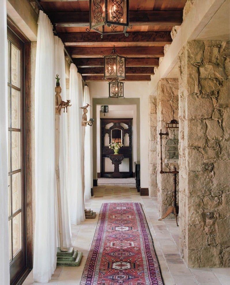 Варианты интерьера в прихожей - камень, ламинат, плитка, фреска 178